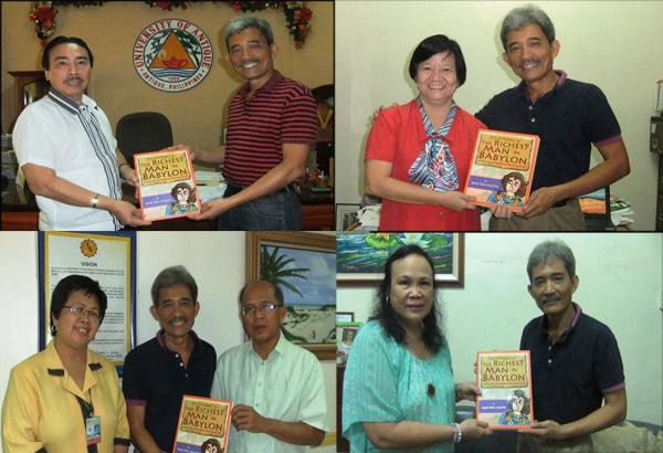 Book donations to University of Antique, SPED - Integrated School for Exceptional Children, Central Philippine University, West Visayas State University, with Pol Espanola as the author's representative