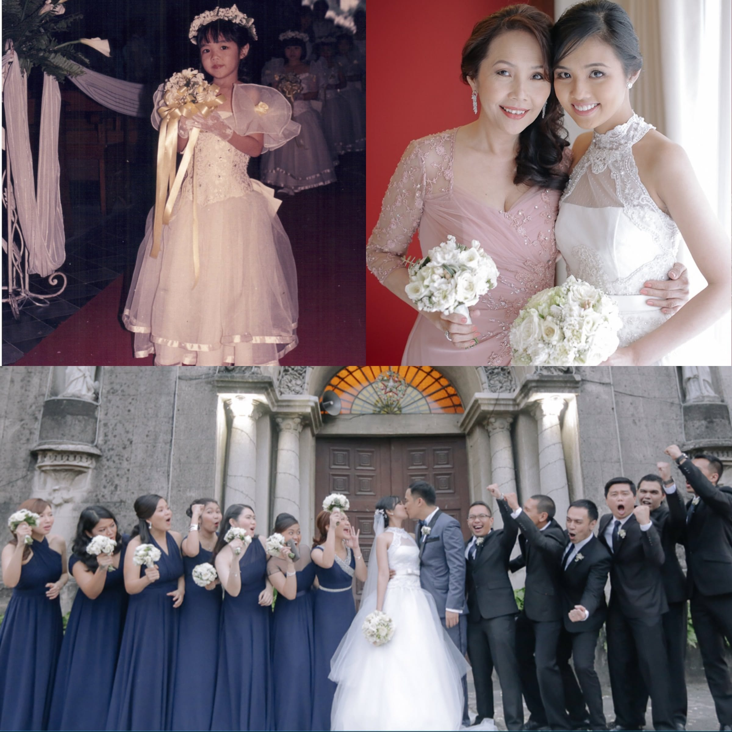 Top left: Katzi as flower girl; Top right: Katzi with mom Dada; Bottom: Bride and Groom with their entourage