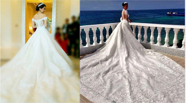 Marian Rivera and Heart Evangelista in their fam=bulous wedding gowns. The contest is on! Who's got the longest and biggest train?