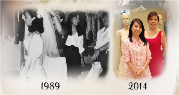 Left: Fitting the camison of my wedding gown with Vicky & Letlet Veloso in 1989; RIght: reuniting with Letlet Veloso to rehash my quarter of a century old gown.