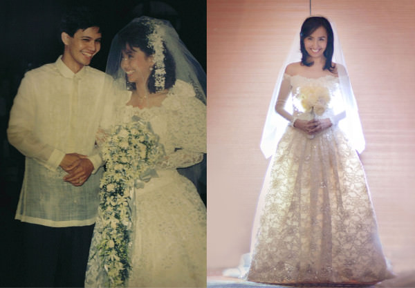 Left: The author as a first time bride in 1989 with husband Marvin; RIght: The author as a Silver bride wearing the same gown