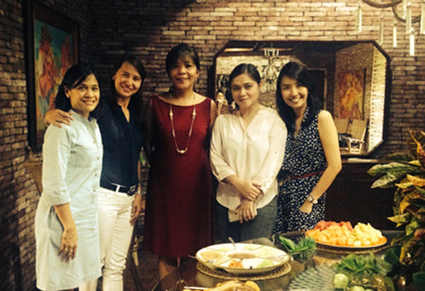 Letlet Veloso (center) with her brides from L-R: May Lyn Miranda, Bebet Corpuz, Karen, Pongos, and the author