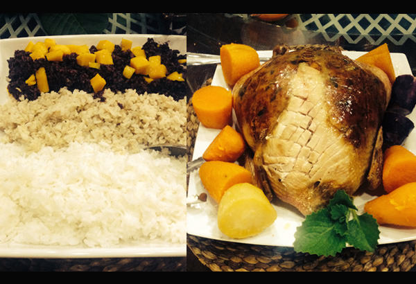 Tri-colored rice – white, semi polished light brown and black rice with ripe mango toppings; Right: Stuffed Chicken serves with boiled sweet potatoes
