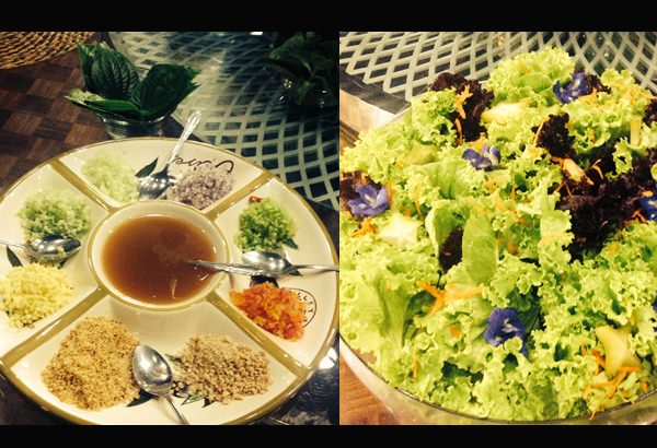 Left: Cado salad – something Malu Veloso learned from a Thai friend, cado leaves (top) serves as the wrapper for the many ingredients that are finely chopped dipped in sauce (a new favorite!); Right: Organic greens with flowers served with a variety of dressings