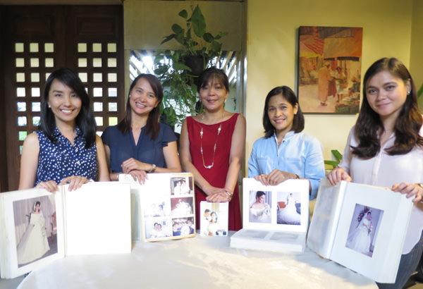 The brides holding their respective wedding albums. L-R: The author, Bebet Corpuz, Letlet, May Lynn Miranda, Karen Pongos