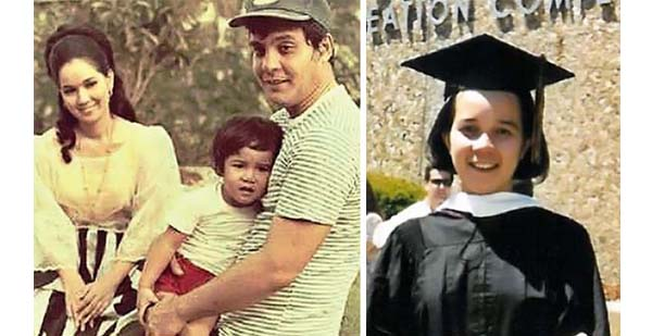 Left: The young Grace with parents Fernando Poe, Jr. and Susan Roces; Right: Grace graduating from Boston College .