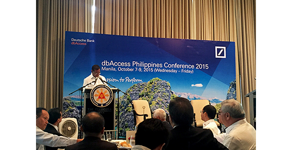 Candidate Number 1: Vice President Jejomar Binay delivering his keynote speech at the dbAccess on October 7, 2015.