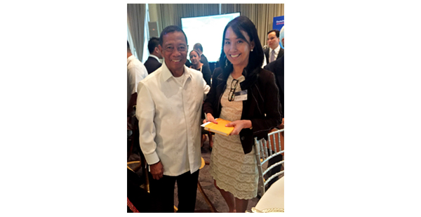 VP Binay with the author after he answered her question