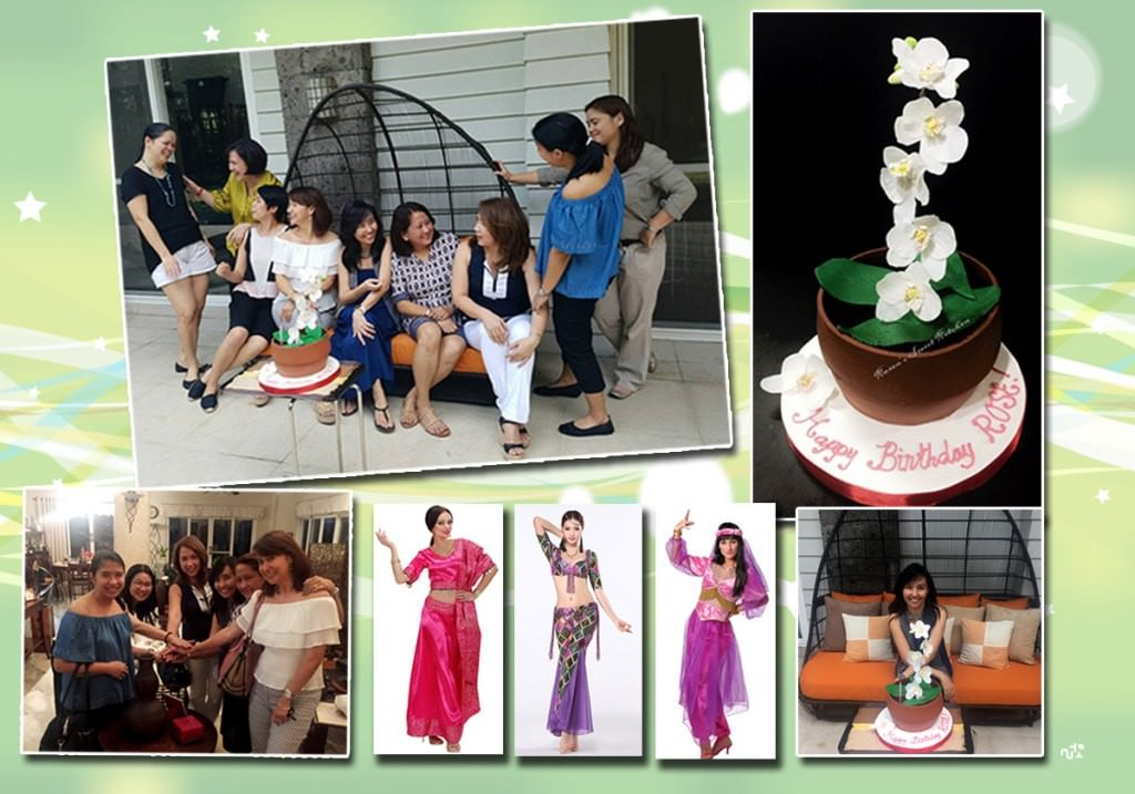A birthday lunch arranged by my Ateneo mom friends; Awesome orchid cake that looks so real; 5Bs pact with my friends in time for Bollywood party