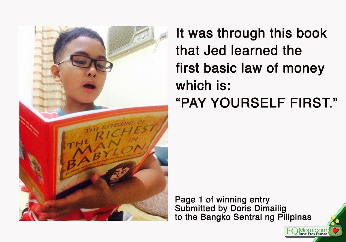The first page of the story submitted by Jed's mother to BSP that made Jed the Outstanding Kiddie Saver Award. (From the PDF shared by Doris Dimailig)