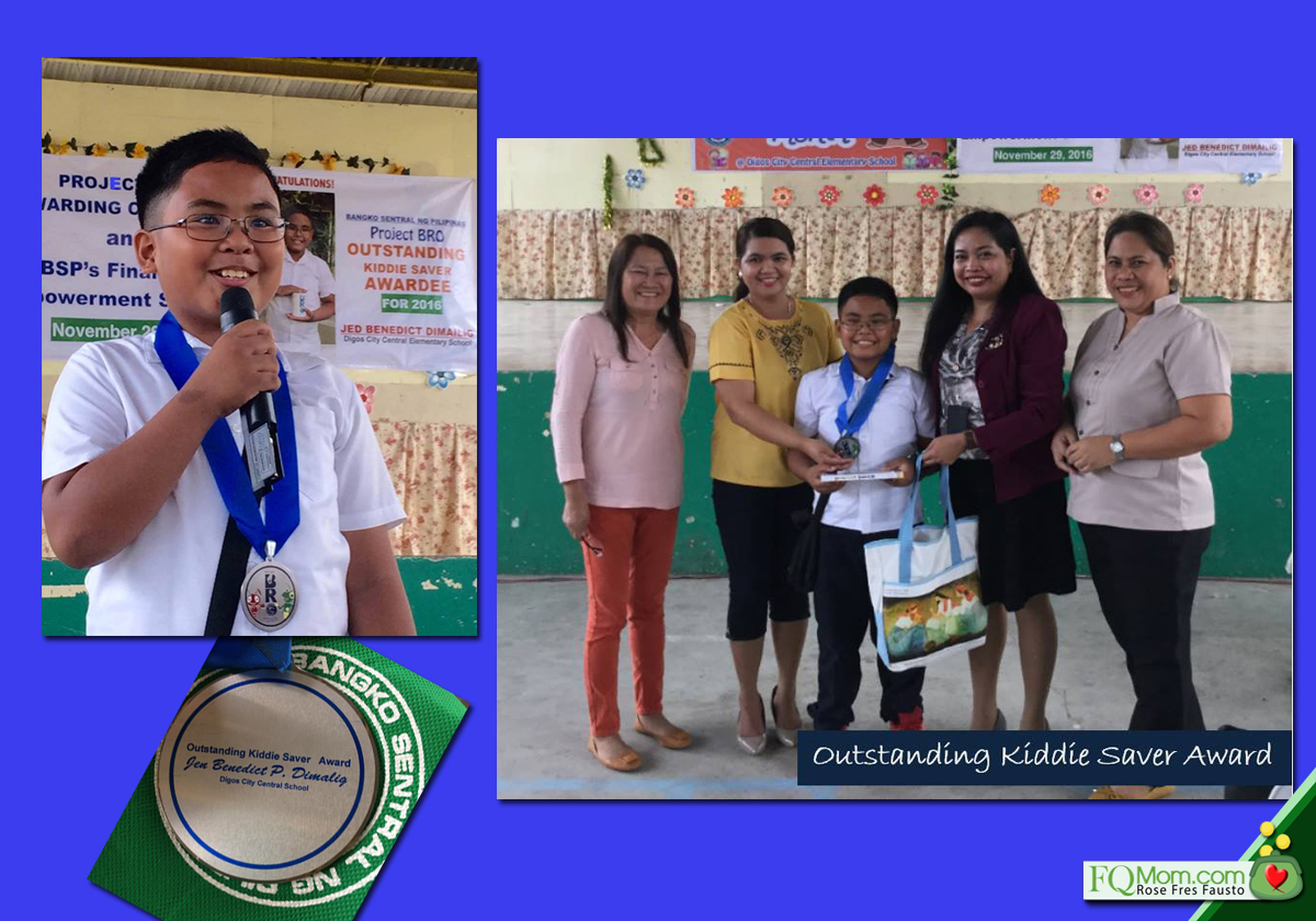Jed Dimailig, receiving the Outstanding Kiddie Saver Award from BSP