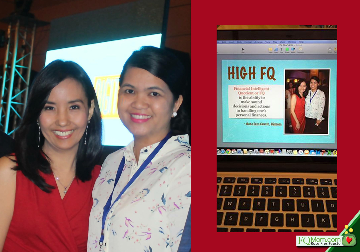 Doris Dimailig shared with me her draft presentation to the teachers of Digos Elementary School (right photo); Our photo together taken during the Kerygma Wealth Summit (left photo)