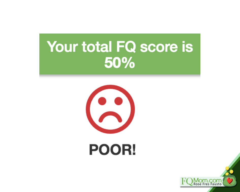 Even if you get a dismal FQ Score at the start, remember that it is not cast in stone, as you can still improve it.
