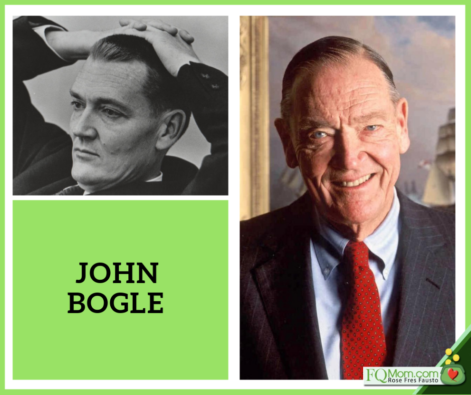 John Bogle, the father of the low-cost index mutual fund. Left: as a young man; right: one of his most recent photos.