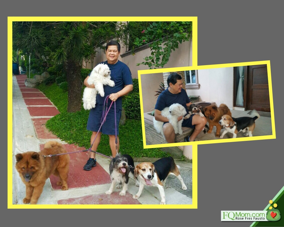 The governor was also a dog lover and their 5 dogs looked forward to their weekend walks with him.