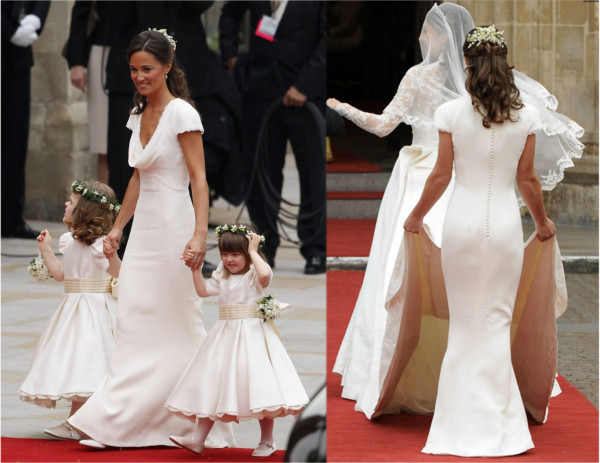 Pipa Middleton in her simple and elegant Maid of Honor gown during her sister's royal wedding