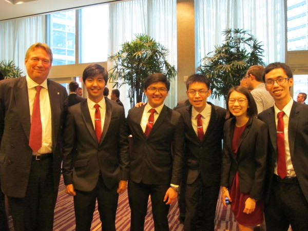 From left: Pres. & CEO of CFA Society Paul Smith; The Philippine/Asia Pacific Team from ADMU Enrique Fausto, Jahan Regner, Shaun Que, Sarah Cua, Kyle Velasco