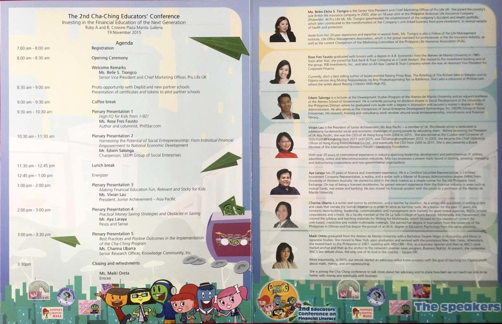 The Program of the 2nd Cha-ching Educators' Conference.
