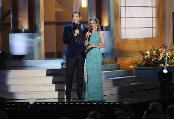 Thomas Roberts with co-host Natalie Morales,Miss Universe 2014