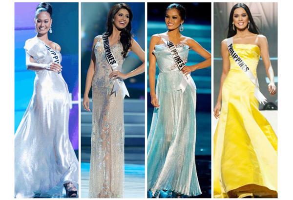 Left to right: Venus Raj (2010 Miss Universe 4th Runner-up), Shamcey Supsup (2011 Miss Universe 3rd Runner-Up), Janine Tugonon (2012 Miss Universe 1st Runner-Up) and Ariela Arida (2013 Miss Universe 3rd Runner- Up)
