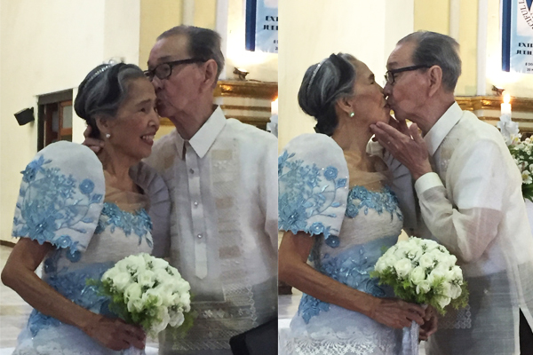 They did it again! The author's parents Rufino & Josefa a.k.a. Pinong & Pepay Fres sealed it with a kiss once more after 60 years of being married.