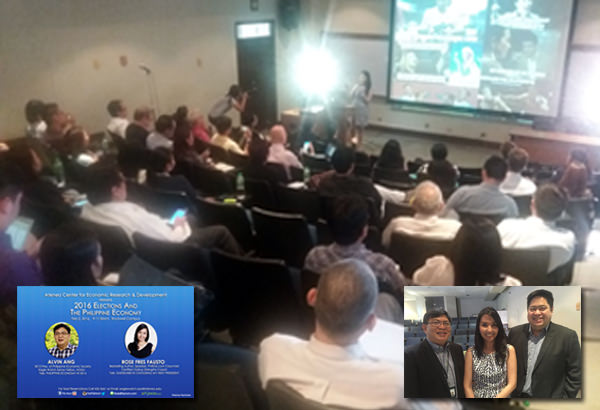 Together with Alvin Ang (ADMU Economics professor), I gave a talk on the Philippine economy and the presidentiables at the Ateneo Business School in Rockwell.