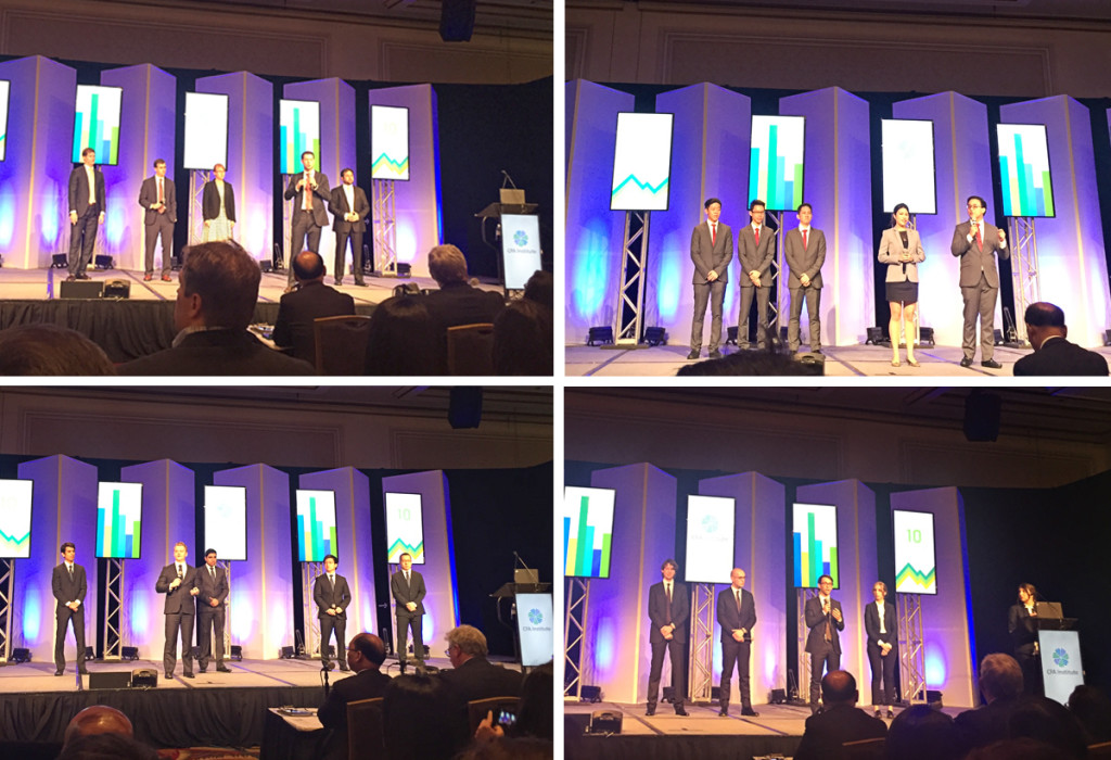 From 1000 down to 103 down to 16 and now 4 finalists at the global CFA IRC 2016 in Chicago. Top left: Americas 1; right: Asia Pacific; Lower Left: Americas 2; right: EMEA