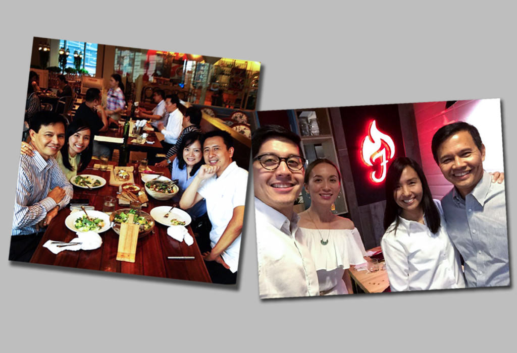 Left: Lunch with Bo & Marowe Sanchez, parents of 2 boys; Right: Dinner with Edric & Joy Mendoza, parents of 3 boys and 2 girls.