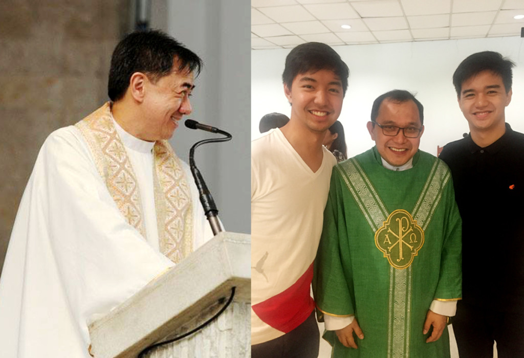 Left: Fr. Johnny Go, S.J., former president of Xavier School; Right: Fr. Joel Buenviaje with the authors' sons Enrique and Anton.