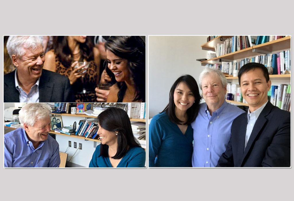 """Left photo: I told Richard Thaler that I should sit on the right side so I can have my own """"Selena Gomez"""" moment! Right photo: Richard Thaler with Marvin Fausto and the author."""