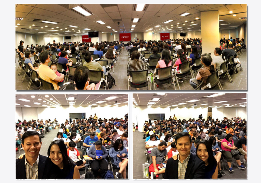 Close to 400 participants taking the FQ Test on their mobile devices during the workshop on The Psychology of Money last July 30, 2016 in Singapore.