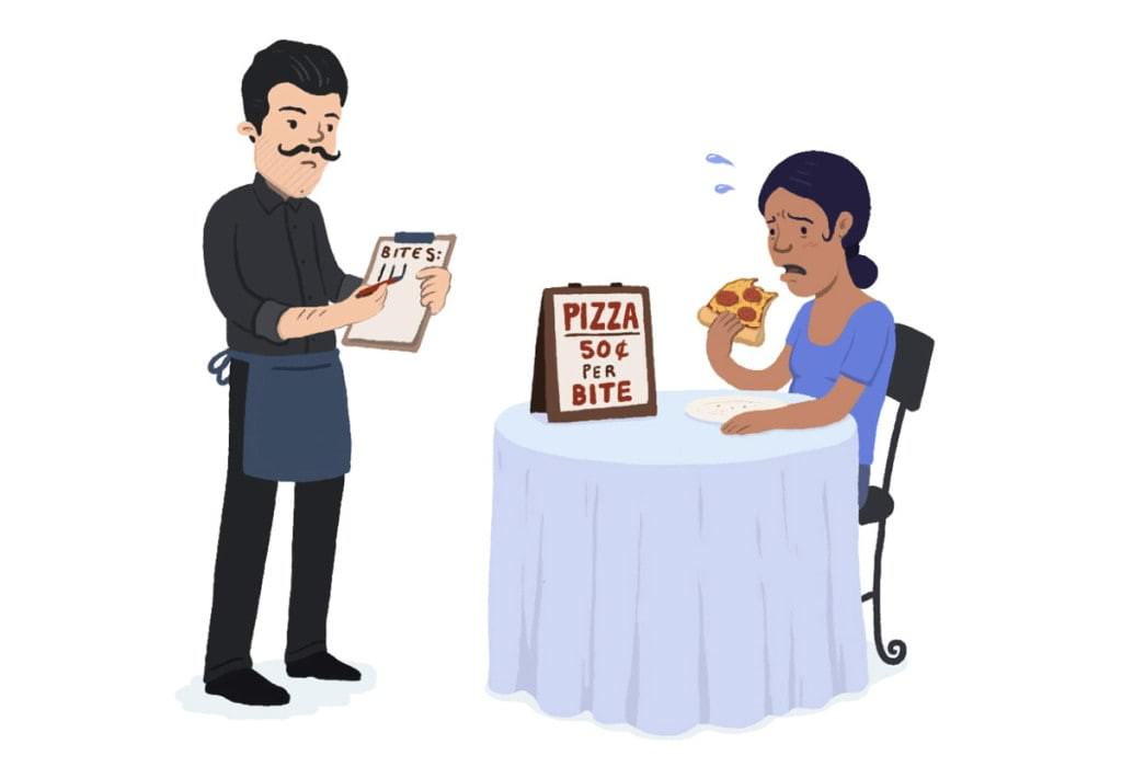 Would you enjoy your pizza if you were charged by the bite?
