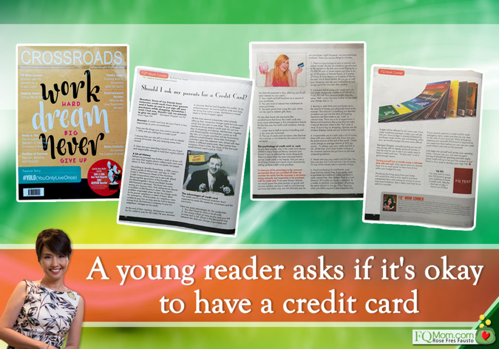 A young reader asks if it's okay to have a credit card