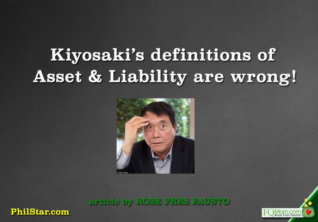 Kiyosaki's definitions of Asset and Liability are wrong!