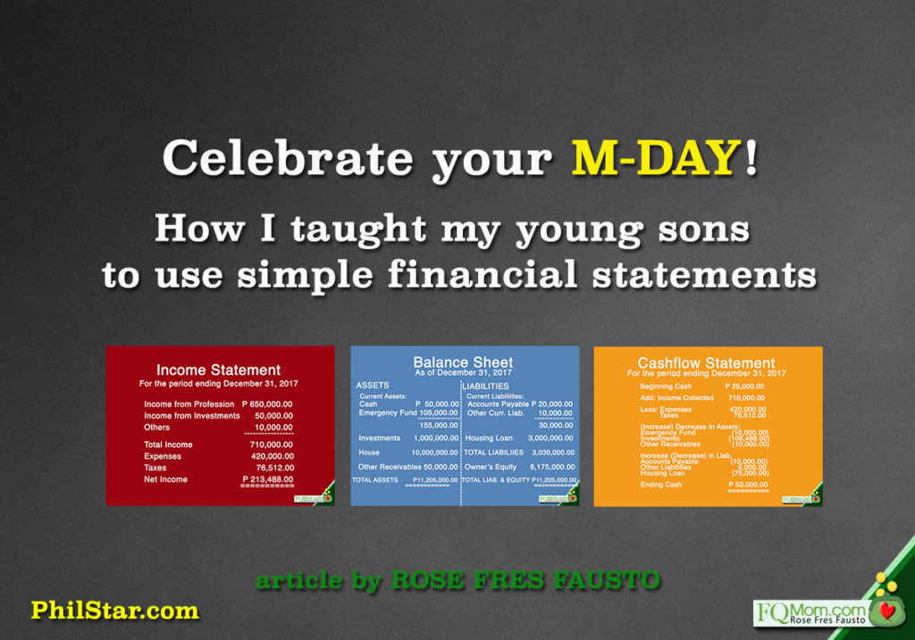 Celebrate your M Day! (How I taught my young sons to use simple financial statements)