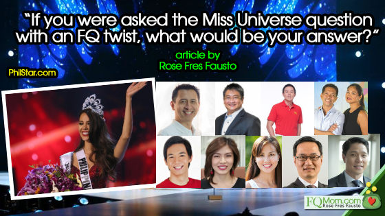 """If you were asked the Miss Universe question with an FQ twist, what would be your answer?"" (Part 1)"