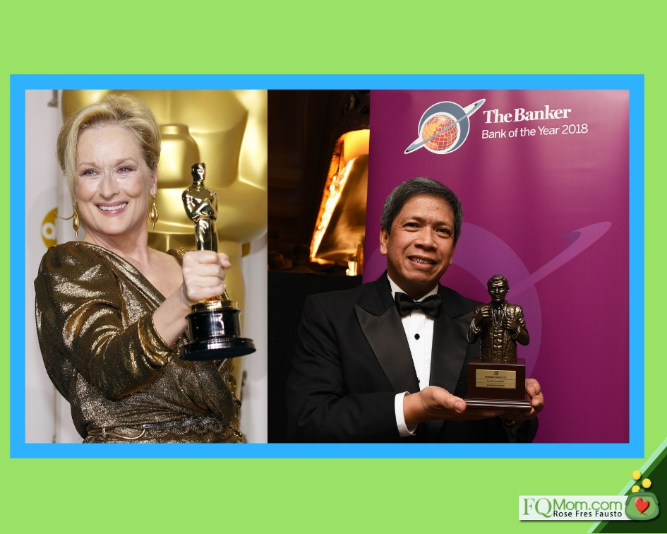 Left: Meryl Streep receiving her Oscar award; Right: Security Bank President & CEO Alfonso L. Salcedo, Jr. receiving the Bank of the Year award for Security Bank in London.