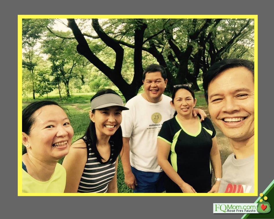 This photo was taken when the author and husband Marvin saw Nesting and Tess jogging at the UP campus. Left to right: Doris Dumlao, the author, Nesting and Tess Espenilla, Marvin Fausto