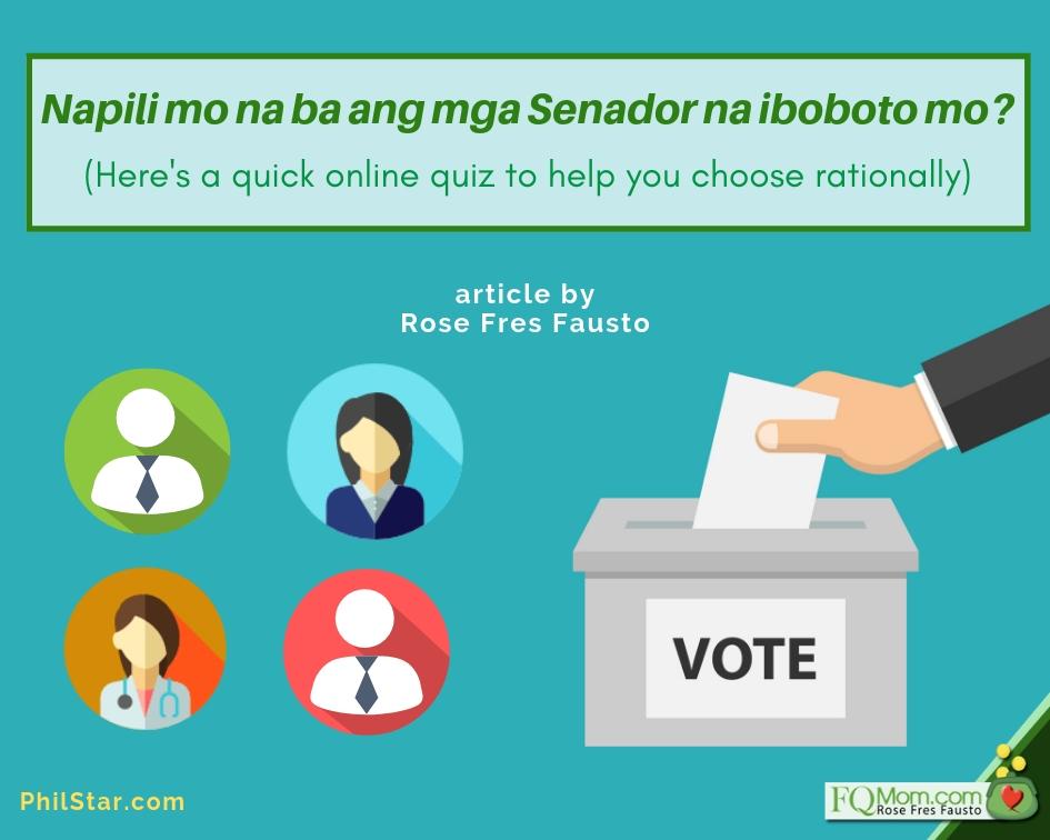 Napili mo na ba ang mga Senador na iboboto mo? (Here's a quick online quiz to help you choose rationally)
